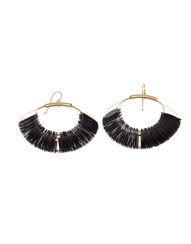Cuervo Marquise Hoop Earrings with Black Sequins