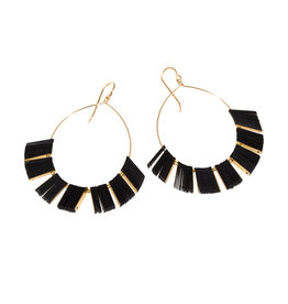Cuervo Ray Hoop Earrings with Black Sequins