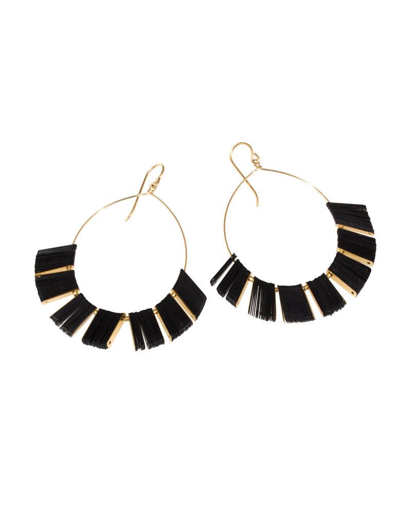 Cuervo Ray Hoop Earrings with Black Sequins