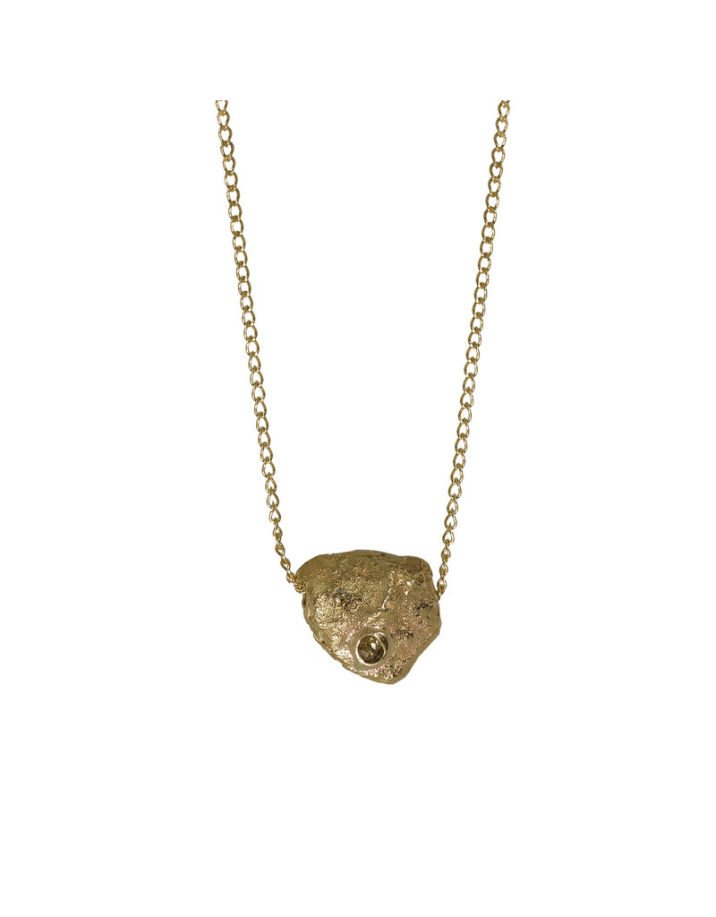 Alexis Pavlantos Rolling Rock Pendant in 14k Gold with Natural Diamond