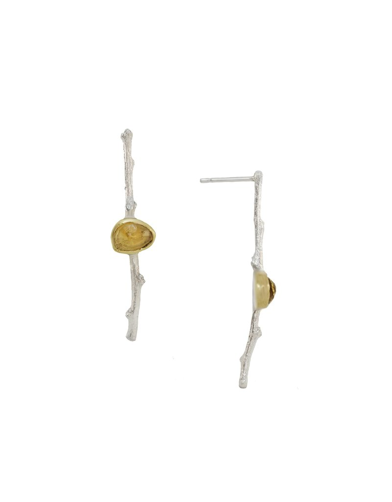 Alexis Pavlantos Segmented Twig Earrings in Silver with Citrine