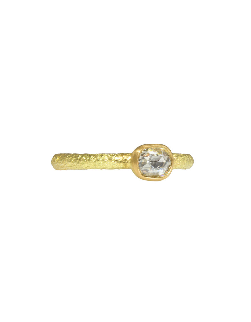 Oval Rosecut Diamond Solitaire Ring in Sand-Textured 18k Yellow Gold