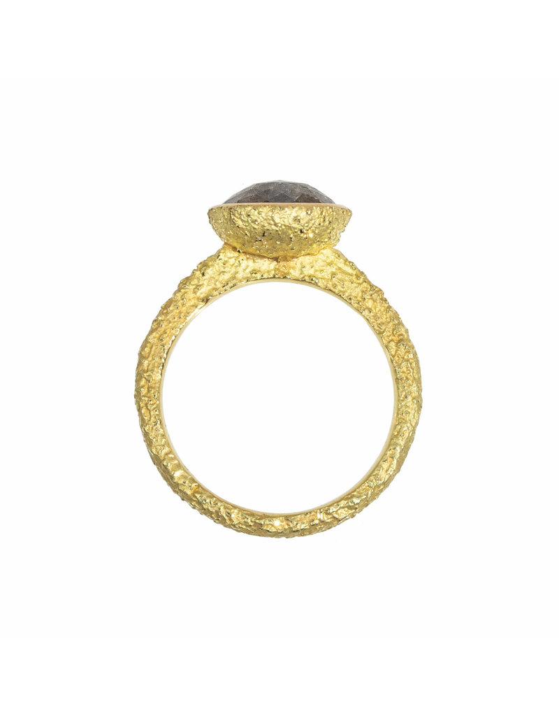 Oval Salt & Pepper Diamond Solitaire Ring in Sand-Textured 18k Yellow Gold