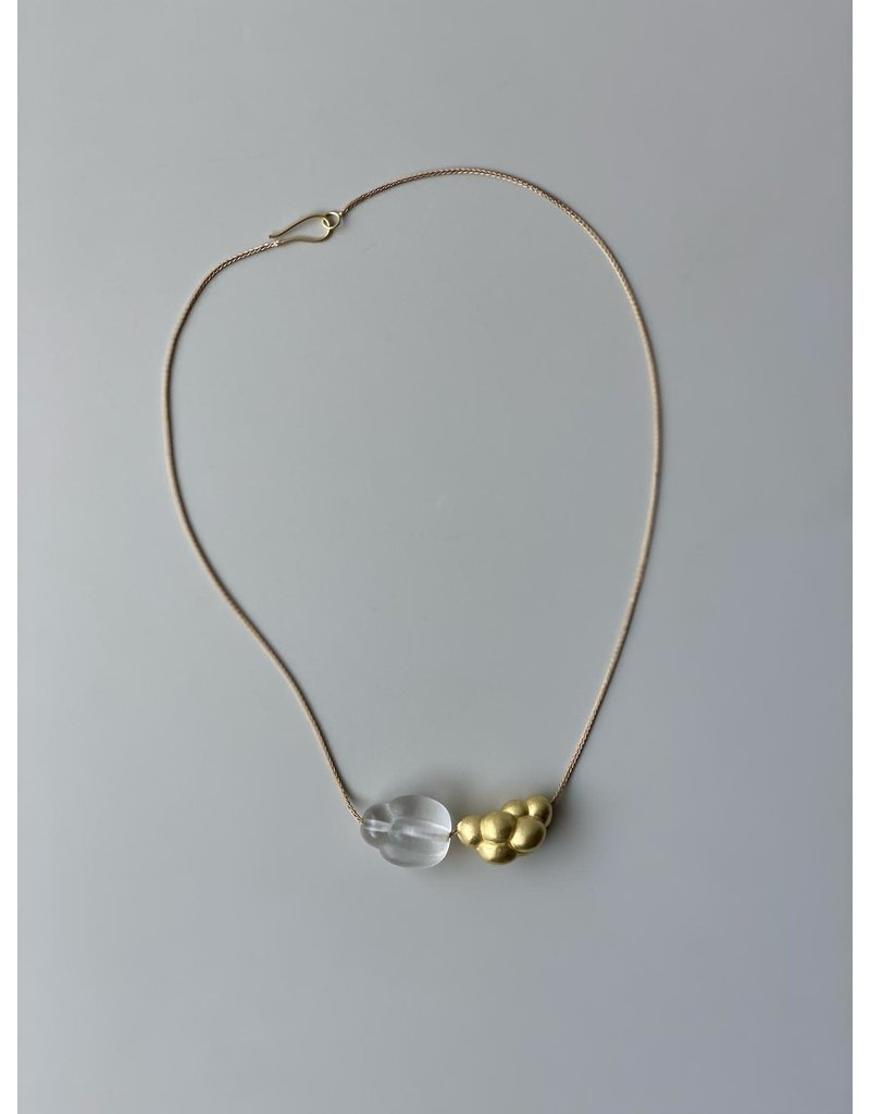 Courbe Necklace with Gold Bead and Quartz Cluster