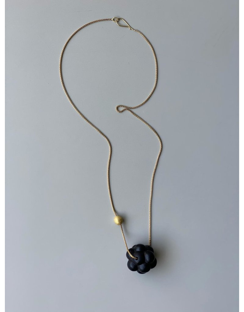 Jet Cluster Necklace with Gold Bead