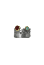 Alexis Pavlantos Adjustable Philo Wrap Ring with Carnelian and Chrysoprase in Silver and 14k Gold
