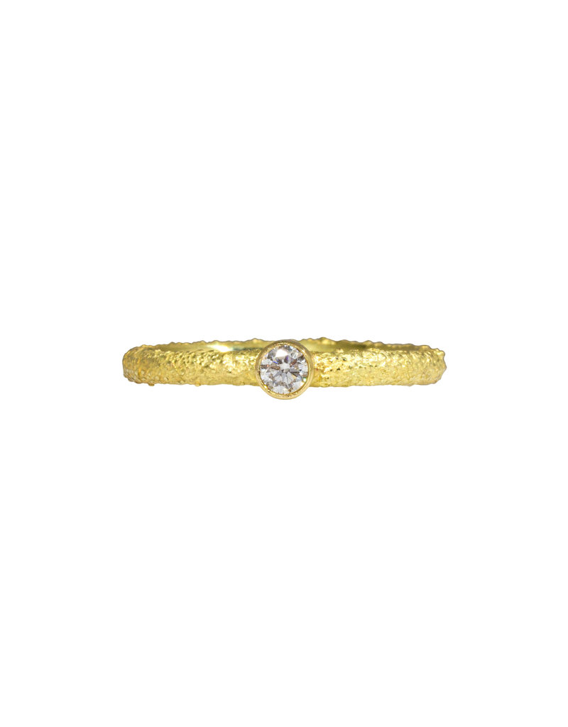 Brilliant Diamond Stacking Ring in Sand-Textured 18k Yellow Gold