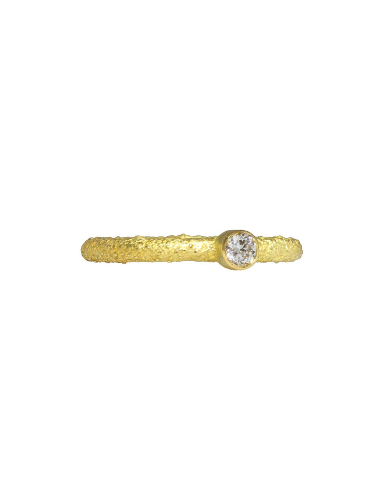 Round Sand Band Stacker with Brilliant Diamond in 18k Yellow Gold