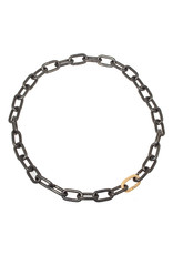 Heavy Chain Necklace in Blackened Steel with Sand-Textured 14k Yellow Gold