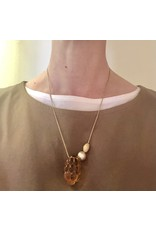 Amber Cluster Necklace with Yellow Pearl and Gold Bead