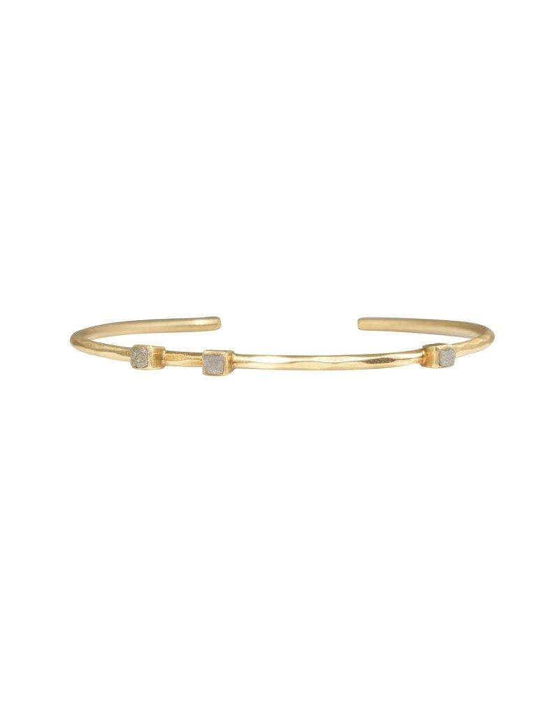 Private Consigner Fredrica Cuff Bracelet with Raw Diamonds in Gold