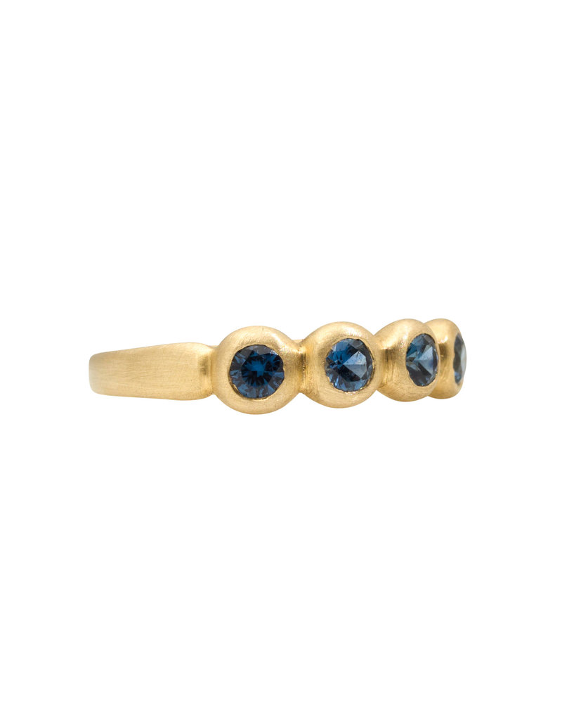 Marian Maurer Porch Skimmer Band with 3mm Blue Sapphires in 18k Yellow Gold