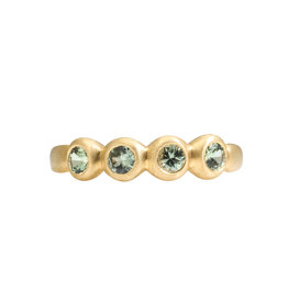 Marian Maurer Porch Skimmer Band with 3mm Grey/Green Sapphires in 18k Yellow Gold