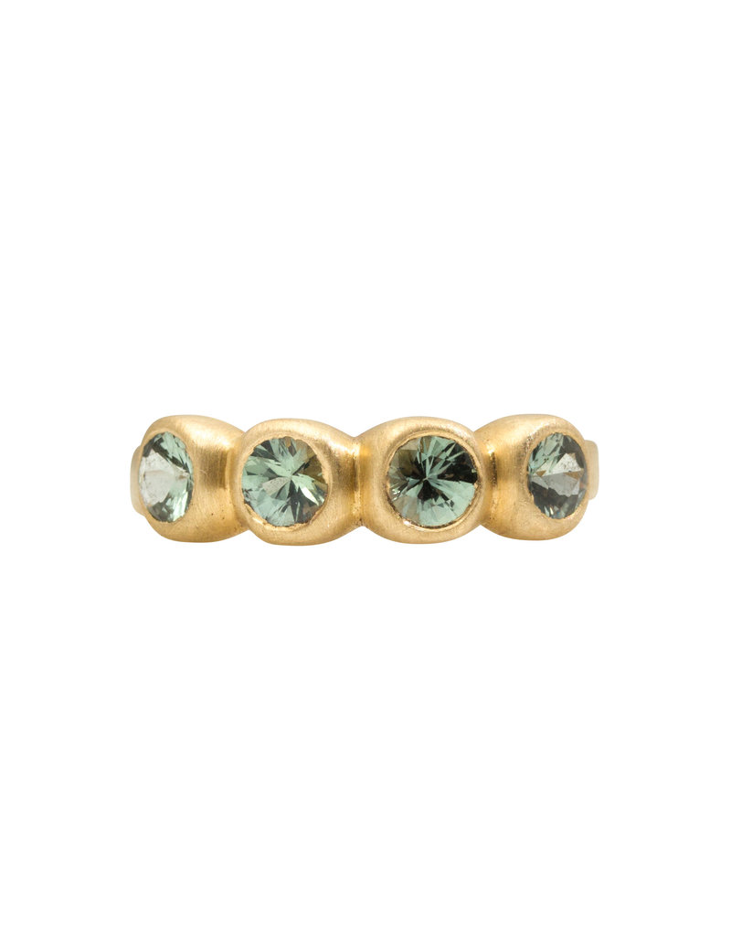 Marian Maurer Porch Skimmer Band with 4mm Green Sapphires in 18k Yellow Gold