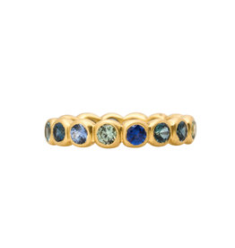 Marian Maurer Porch Band with 3mm Blue, Grey, & Green Sapphires in 18k Yellow Gold