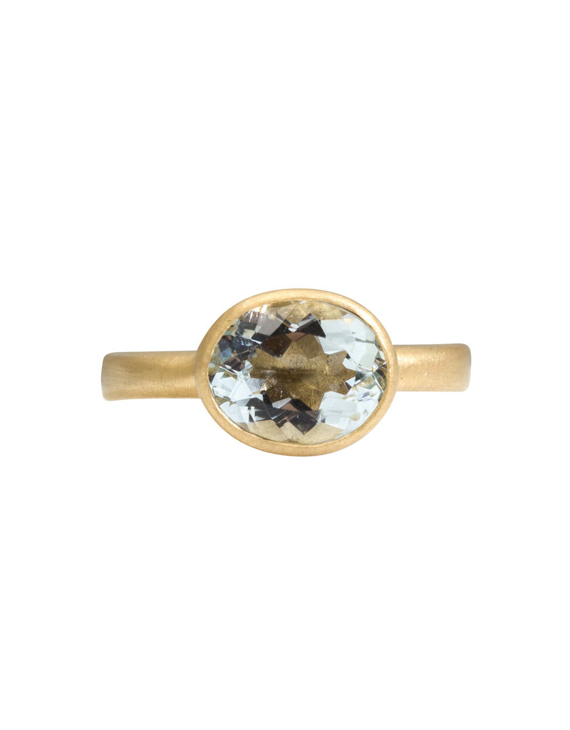 Marian Maurer City Ring with Oval White Aquamarine in 18k Yellow Gold