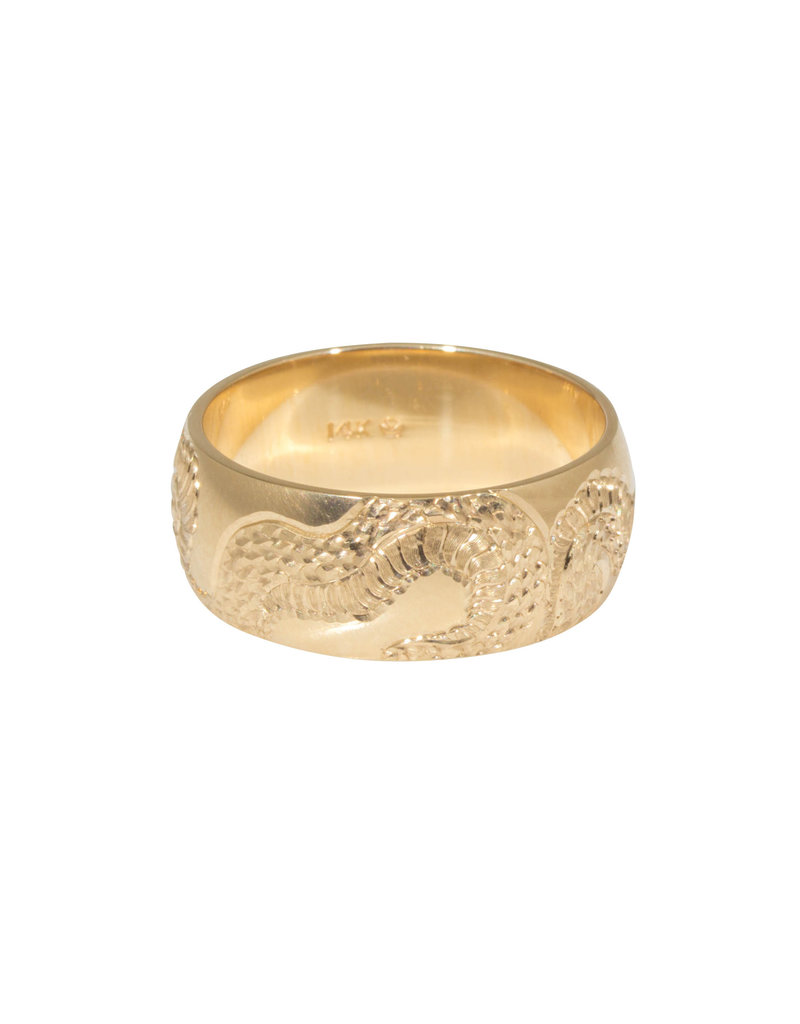 Engraved Snake Band 6mm  in 14k Yellow Gold