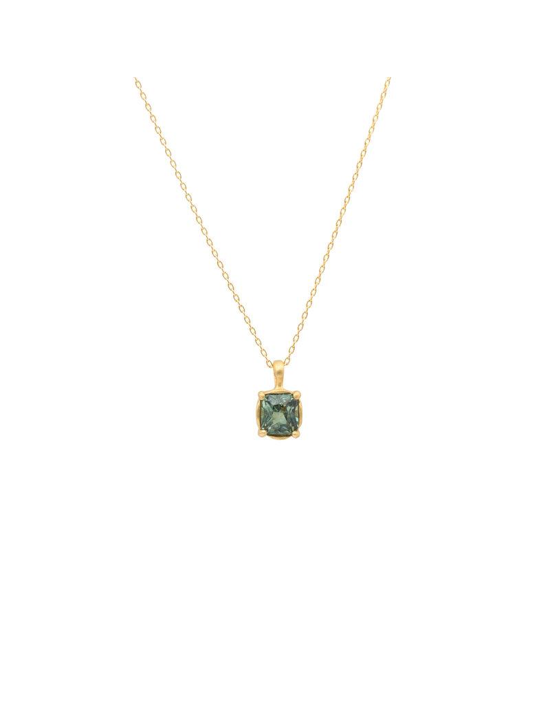 Marian Maurer City Pendant with Rectangular Green Sapphire in 18k Yellow Gold