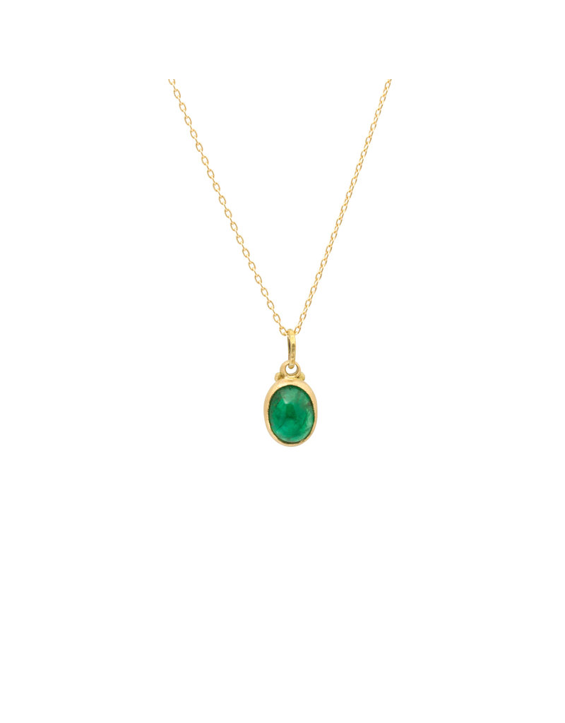 Marian Maurer City Pendant with Oval Emerald in 18k Yellow Gold