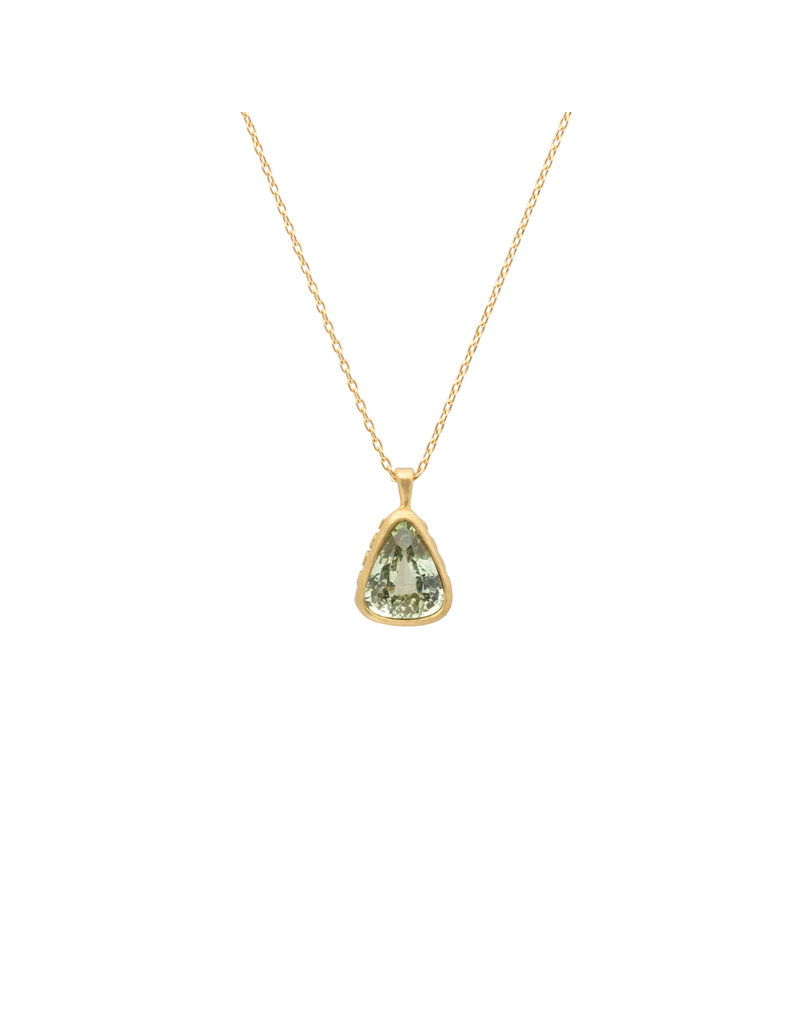Marian Maurer City Pendant with Green Teardrop Sapphire in 18k Yellow Gold
