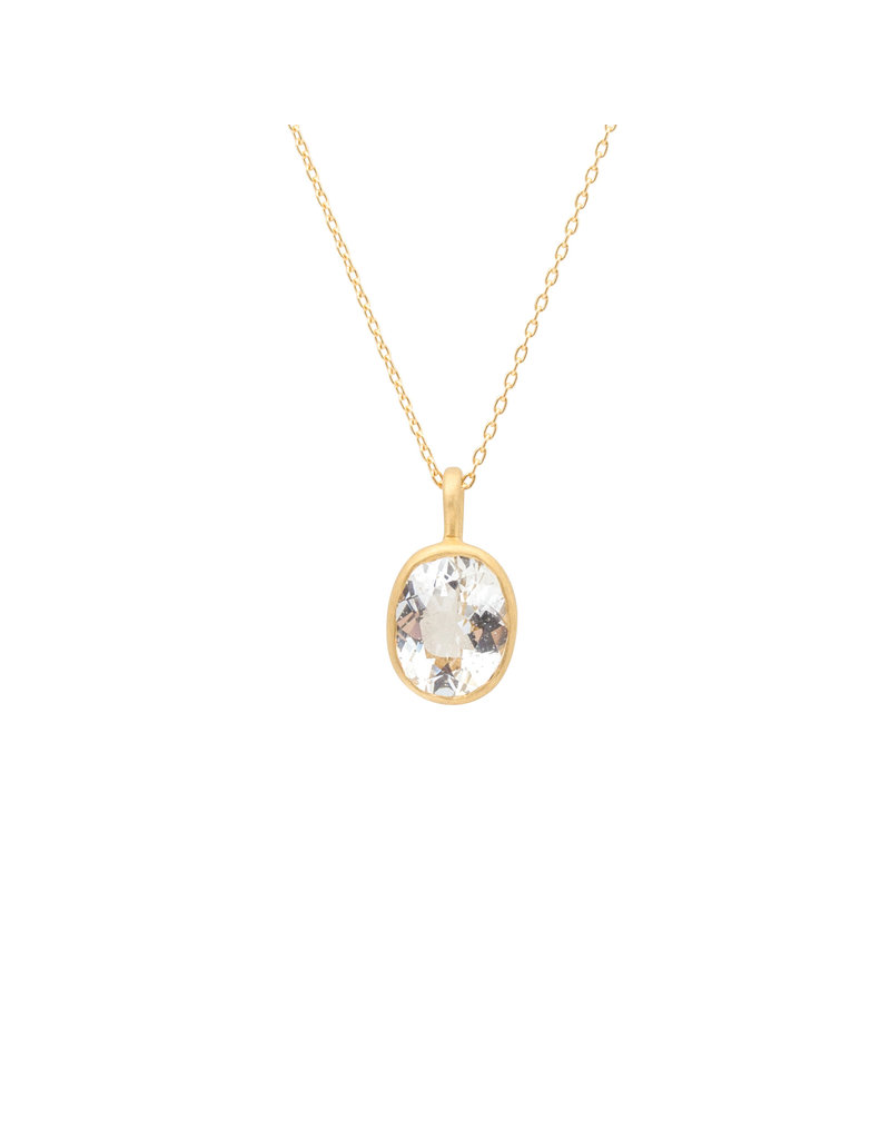Marian Maurer City Pendant with Oval Goshonite in 18k Yellow Gold