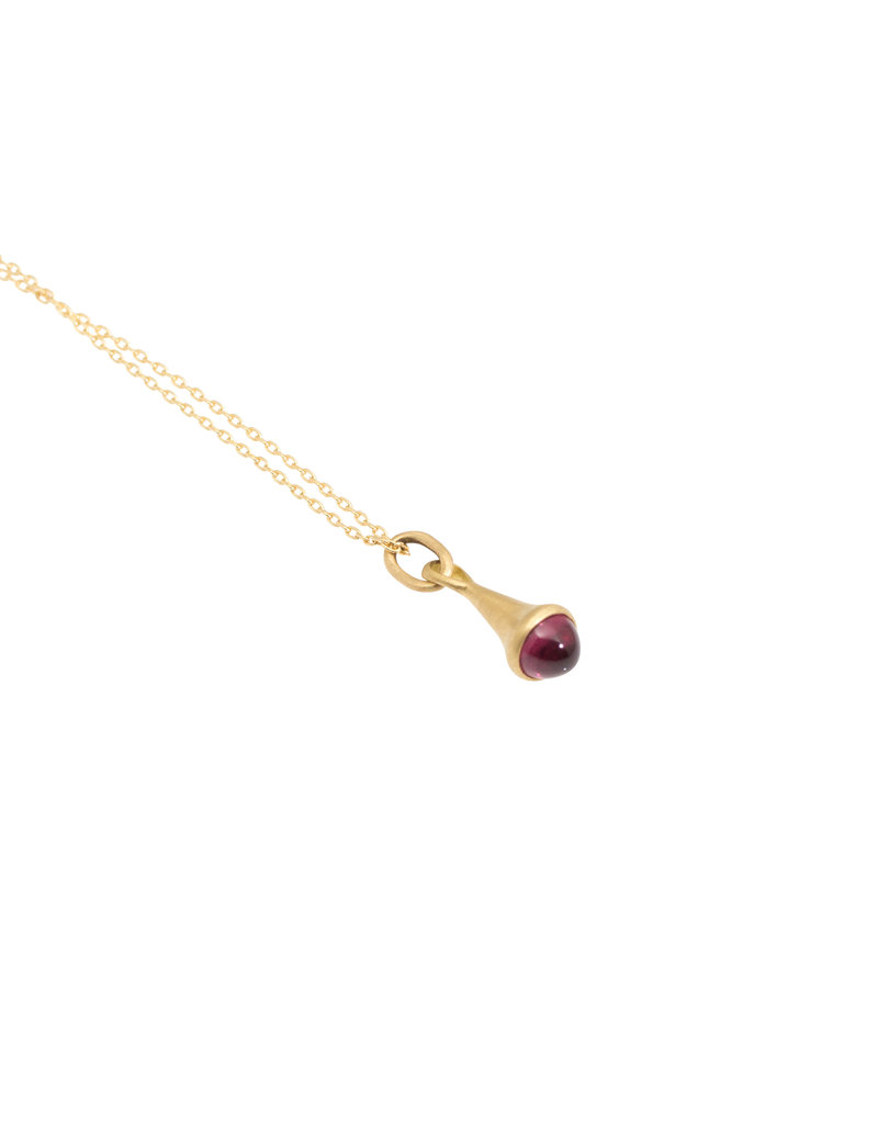 Marian Maurer City Drop Pendant with Pink Tourmaline in 18k Yellow Gold
