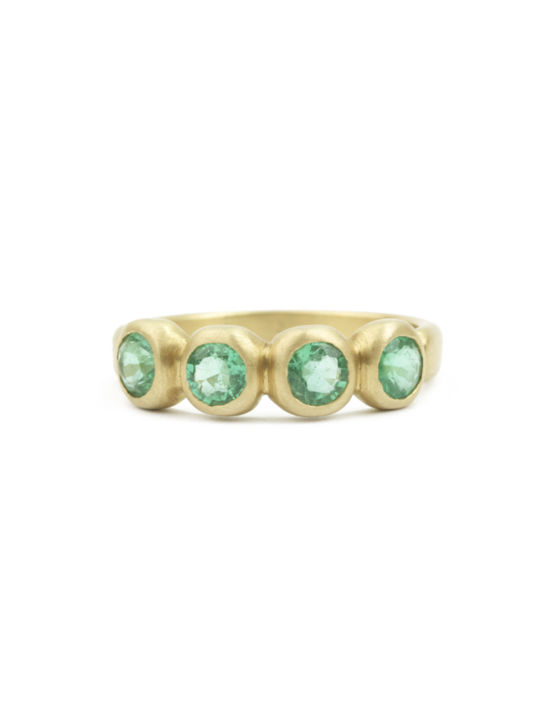 Marian Maurer Porch Skimmer Band with 4mm Emeralds in 18k Yellow Gold