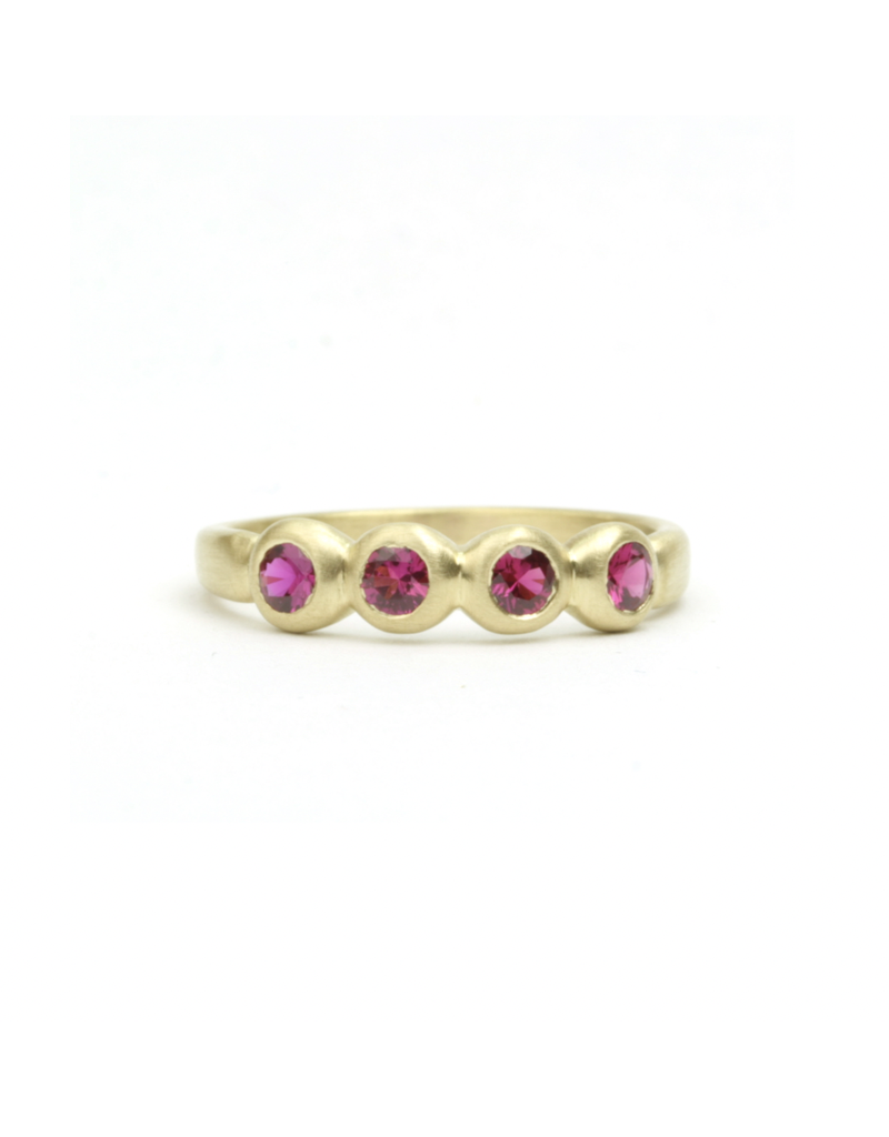 Marian Maurer Porch Skimmer Band with 3mm Rubies in 18k Yellow Gold