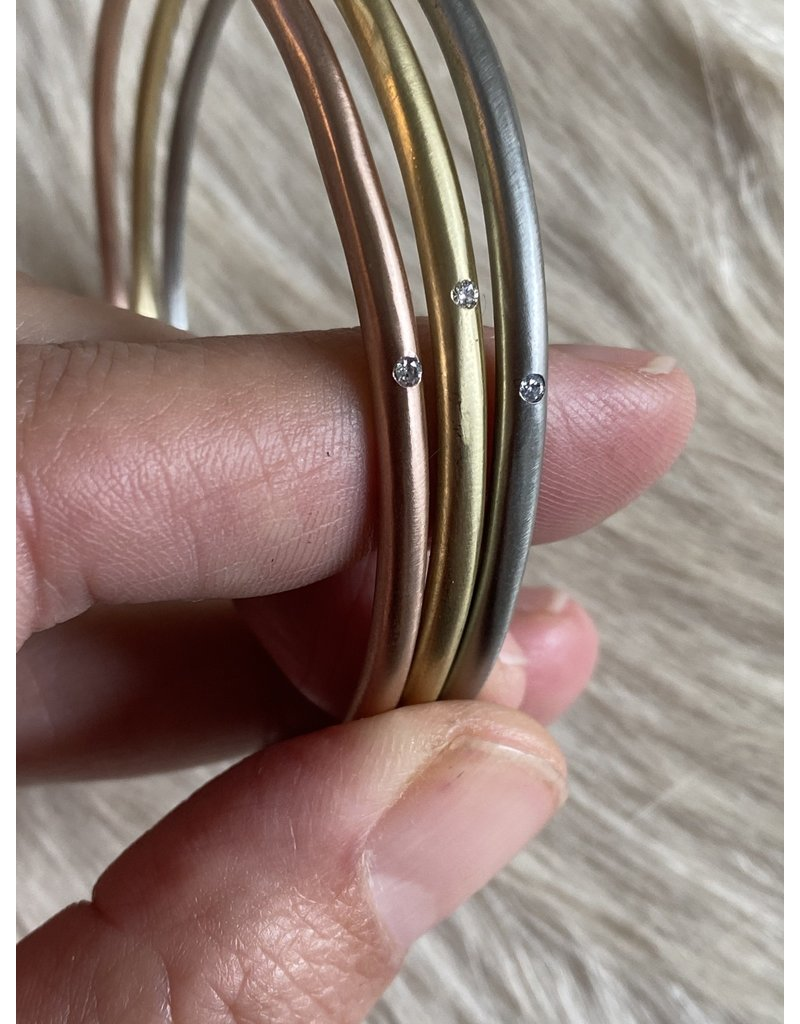 Delicate Tapered Bangle 14k Rose Gold with White Diamond