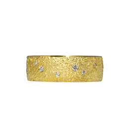 Wide Chunky Sand Band in 18k Yellow Gold with Diamonds