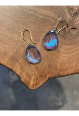 Medium Organic Shaped Quartz Morpho Earrings in Oxidized Silver with 14k Yellow Gold Wires