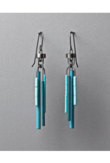 Zephyr Earrings with Teal Wood and Glass Beads