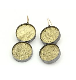 Double Medium Black Silk and Gold Leaf Dangle Earrings