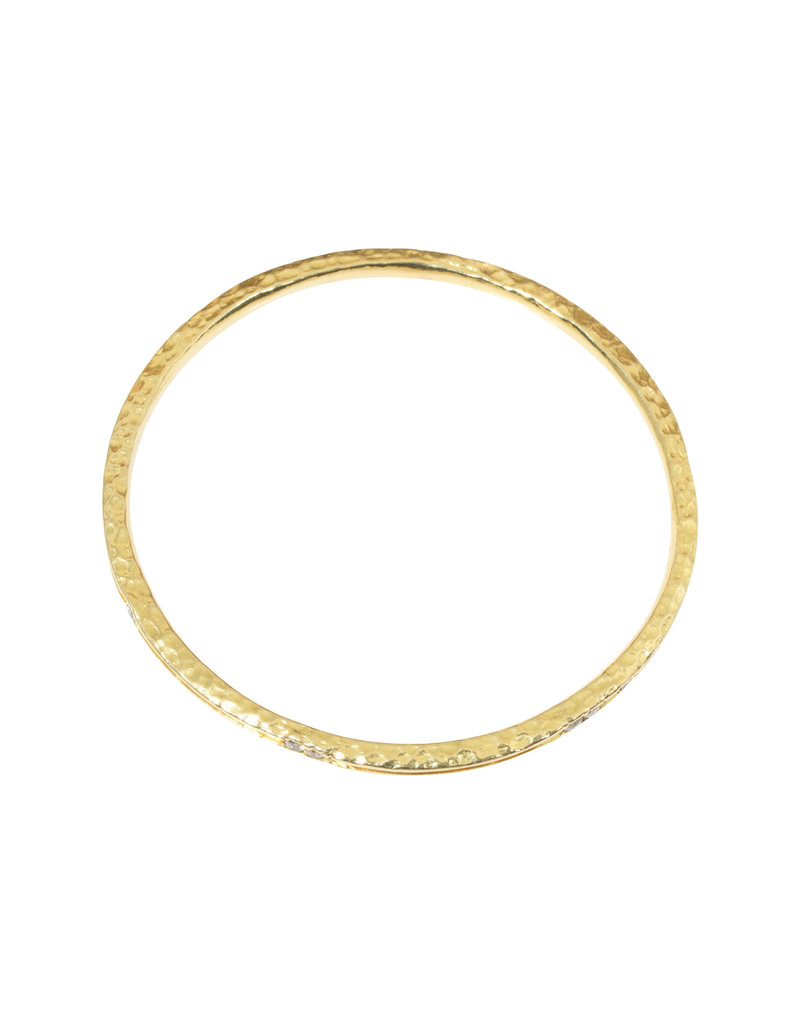 Channel Bracelet in 18k Yellow Gold with 9 White Diamonds