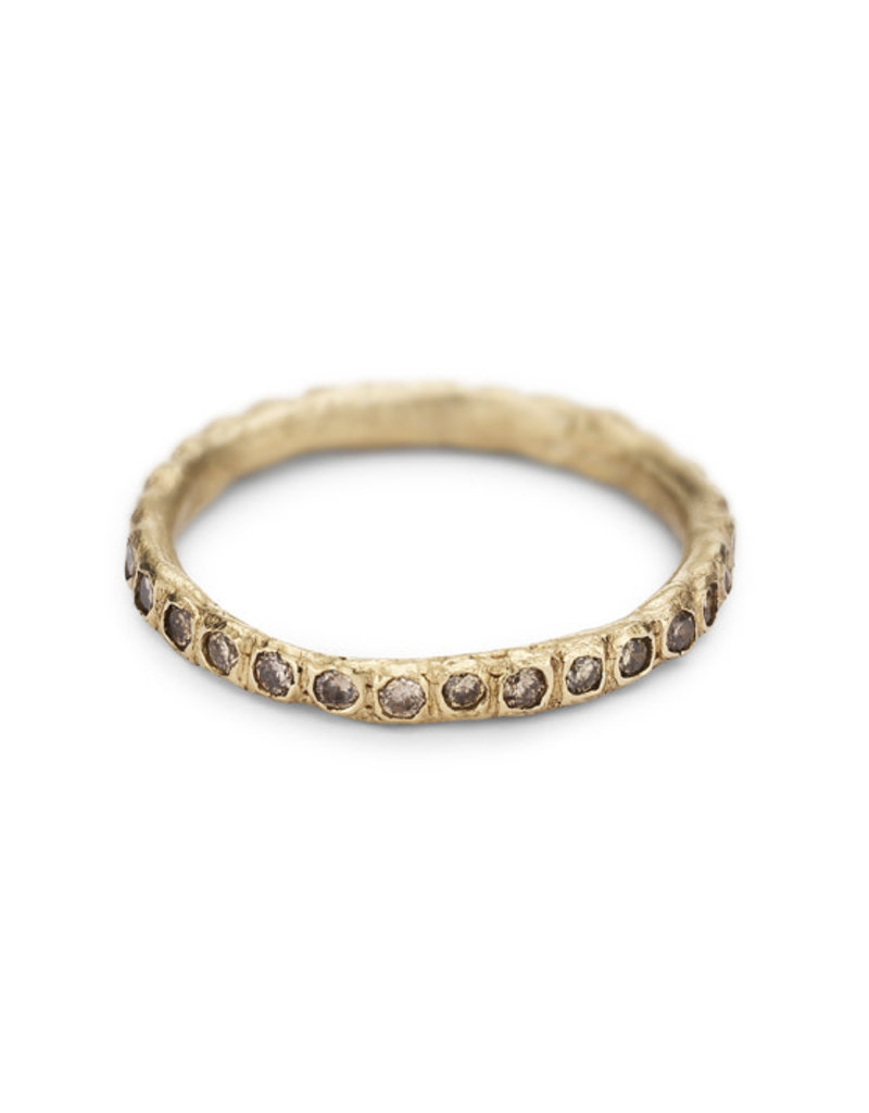 *Cognac  Diamond Eternity Band in 18k Yellow Gold