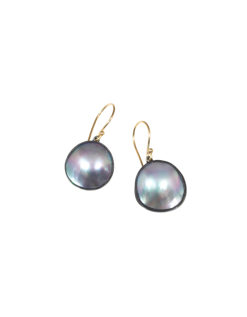 Small Mabe Pearls in Oxidized Silver with 14K Gold Earwires
