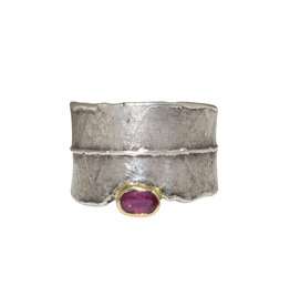 Alexis Pavlantos Adjustable Philo Wrap Ring in Silver with 14k Gold and Ruby