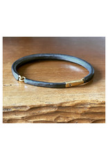 Forged Men's Cuff Bracelet with Cognac Diamond in Oxidized Silver & 18k Gold