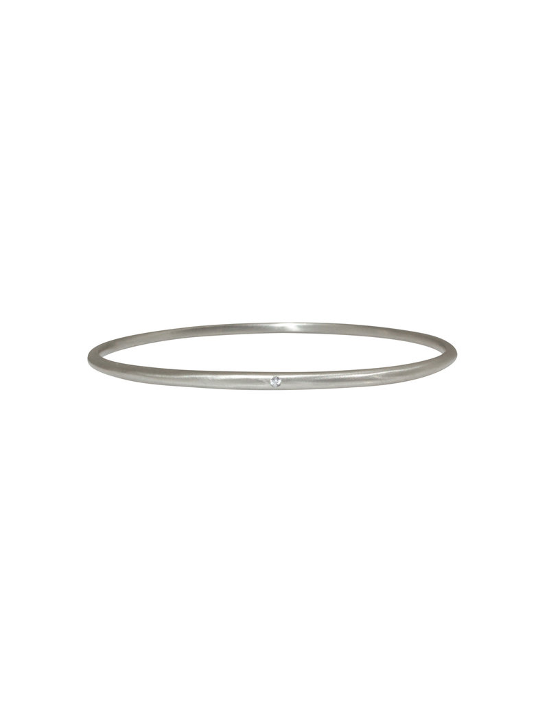 Delicate Tapered Bangle 14k White Gold with White Diamond