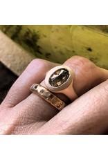 Oval Cognac Diamond Ring in 14k Rose Gold
