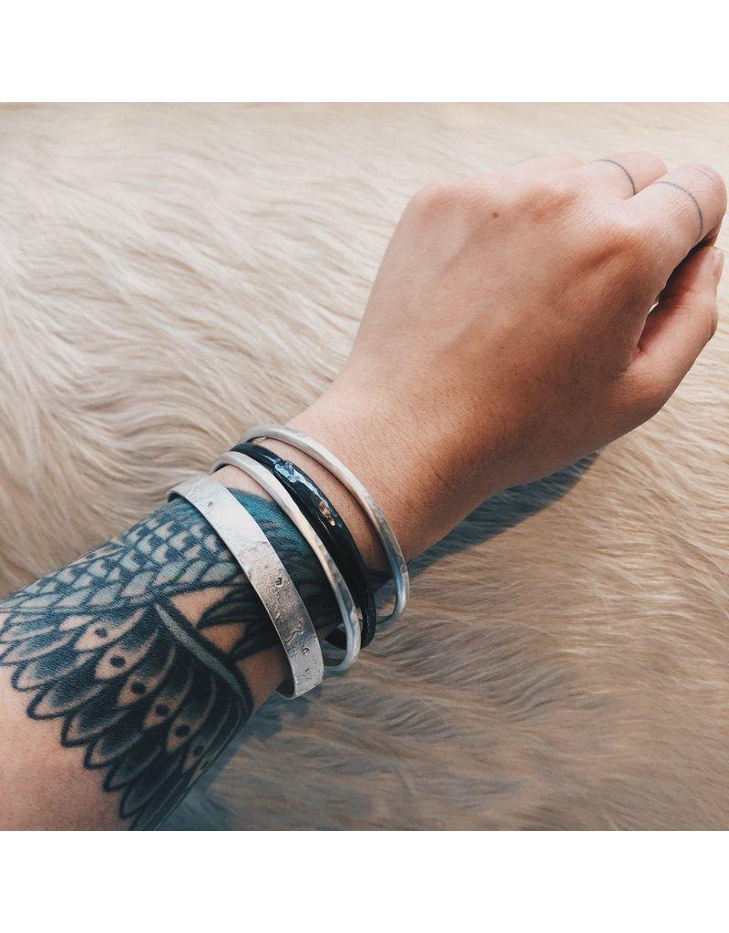 Silk Bangle in Silver with Gray Diamonds