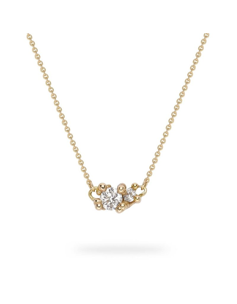 Double Diamond Pendant with Granules in 14k Yellow Gold