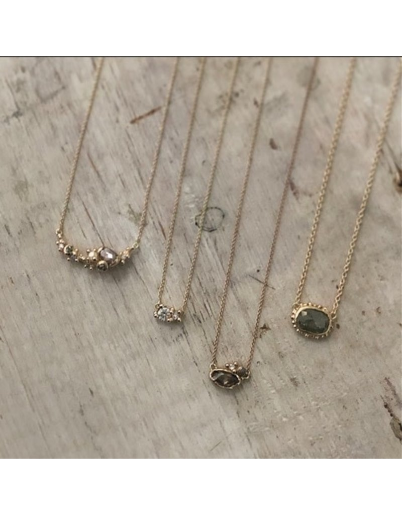 Rose Cut Grey Diamond Pendant with Beaded Setting in 14k Yellow Gold