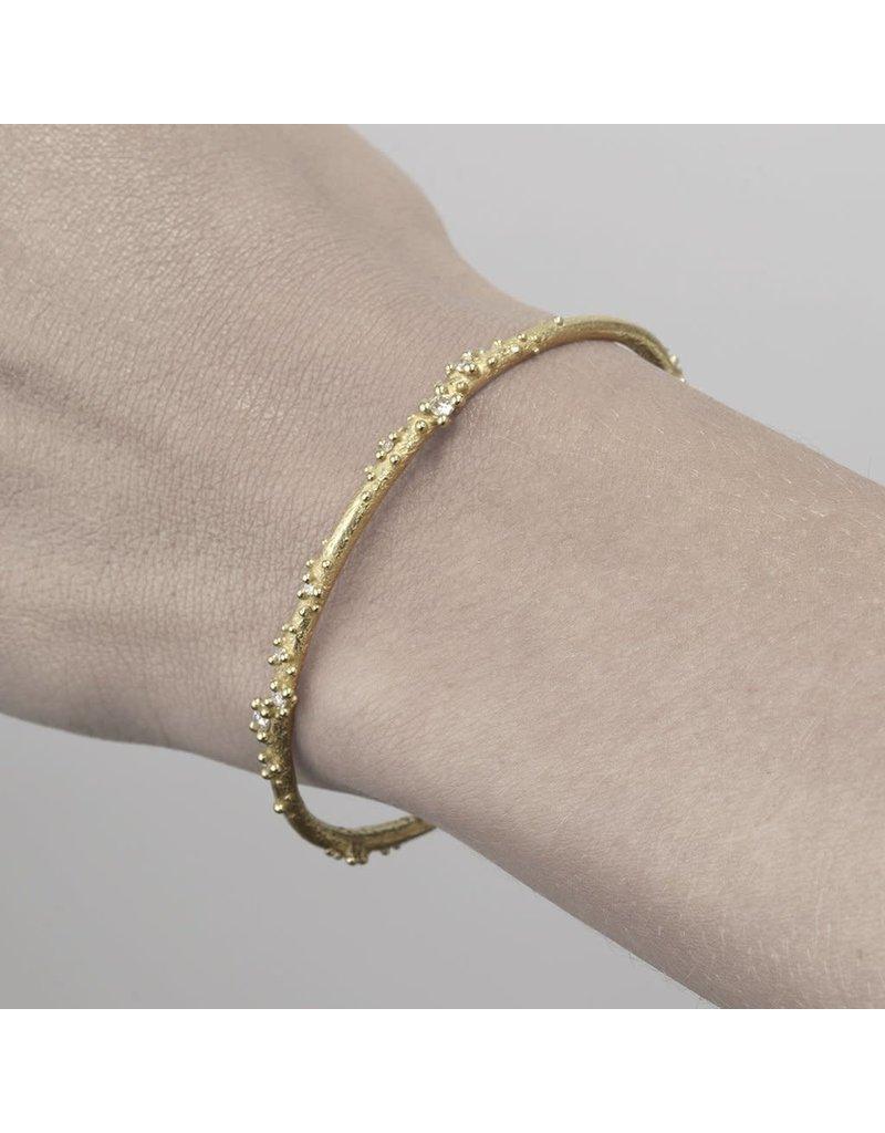 Narrow Encrusted White Diamond Cuff in 14k Gold