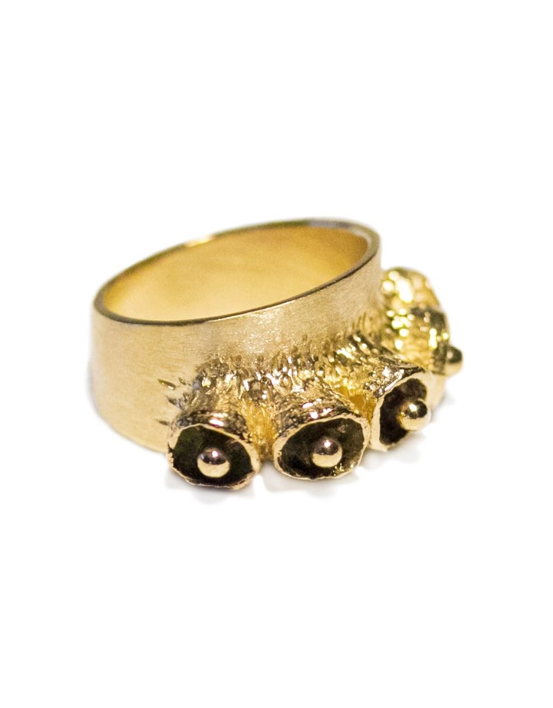 Bell Pod Ring in Yellow Bronze