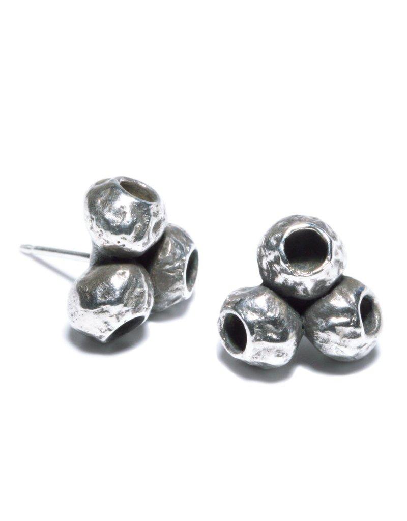 TriPod Post  Earrings in Silver