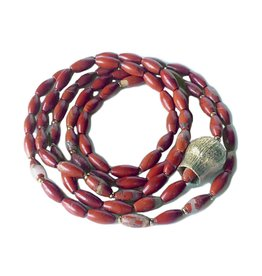 Red Jasper Necklace with Pod Bead in Yellow Bronze