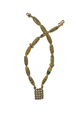 Chrysoprase in Matrix Necklace with Mosaic Tile & Clasp in Yellow Bronze
