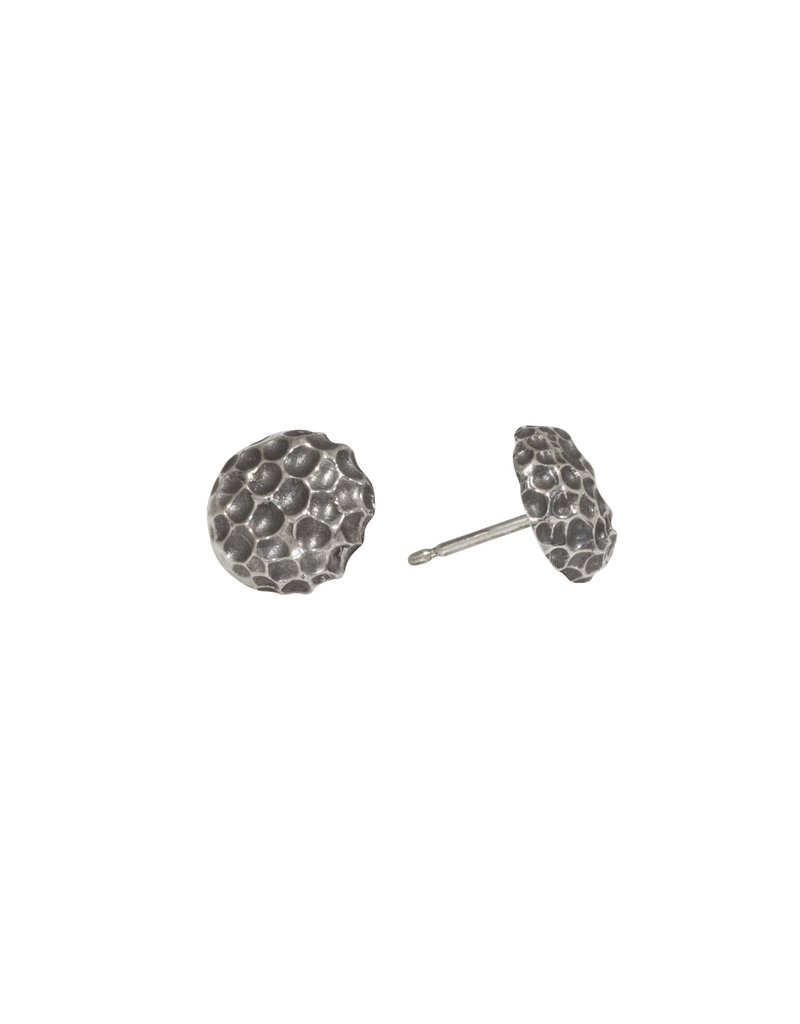 Hannah Alexandra Crater Post Earrings in Oxidized Silver