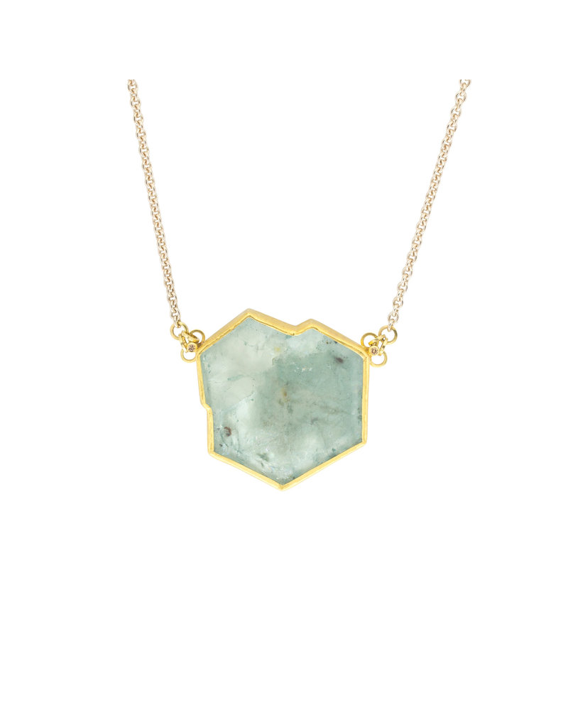 Sam Woehrmann Aquamarine Crystal Pendant with Diamonds in 22k Gold & Silver